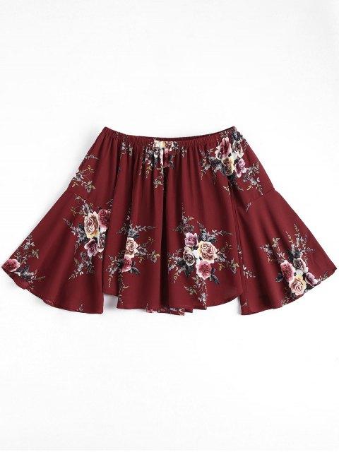 Haut floral à épaule dénudée manche évasée - Rouge vineux  S Mobile