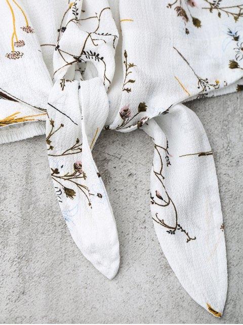 fancy Self Tied Floral Off Shoulder Top - WHITE L Mobile