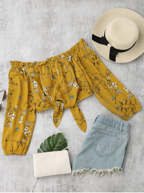 buy Self Tied Floral Off Shoulder Top - YELLOW M Mobile