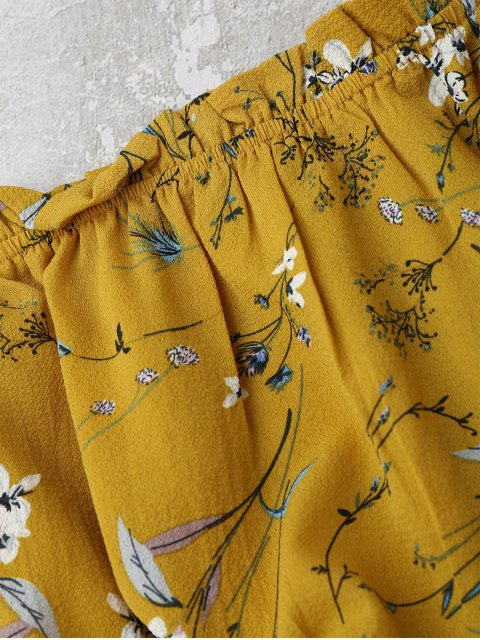 womens Self Tied Floral Off Shoulder Top - YELLOW S Mobile