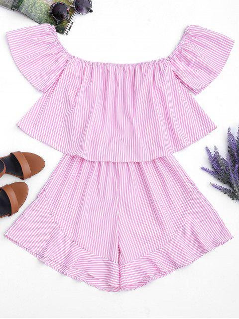 Ruffle Striped Off The Shoulder Romper - Rayures Roses L Mobile