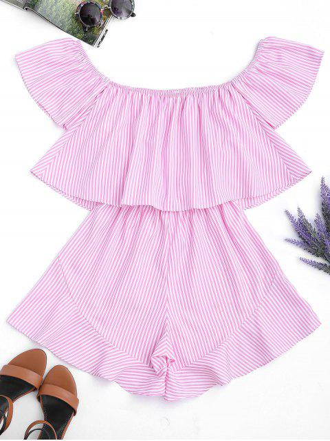 fashion Ruffle Striped Off The Shoulder Romper - PINK STRIPES L Mobile