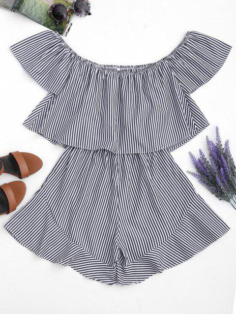 chic Ruffle Striped Off The Shoulder Romper - STRIPE L Mobile