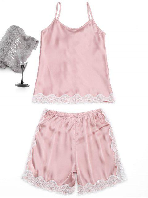 buy Lace Trim Cami Top with Satin Shorts - PINK M Mobile