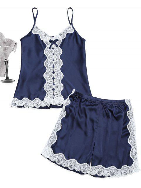 women Lace Trim Cami Top with Satin Shorts - PURPLISH BLUE L Mobile