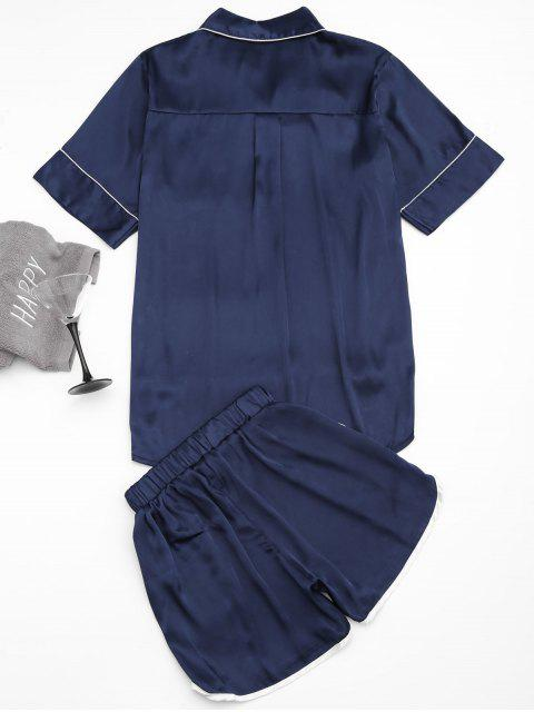hot High Low Satin Top with Piping Shorts - PURPLISH BLUE M Mobile