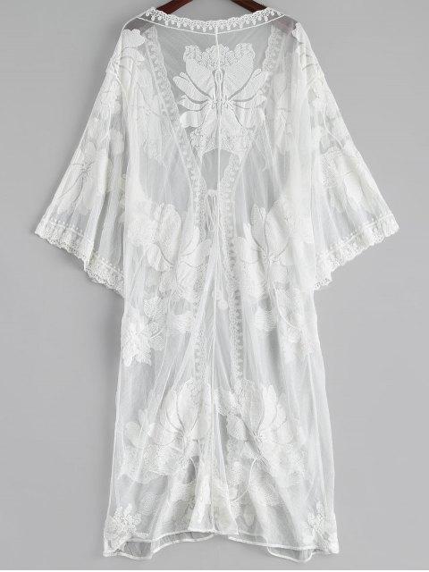 Cache maillot kimono transparent en dentelle avec broderie florale - Blanc TAILLE MOYENNE Mobile