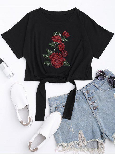 fancy Floral Patched Self Tie Bowknot Tee - BLACK L Mobile