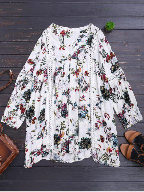 lady Cut Out Floral Tunic Dress - WHITE M Mobile
