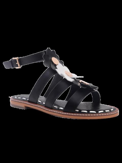 new Flowers T Bar Flat Heel Sandals - BLACK 38 Mobile