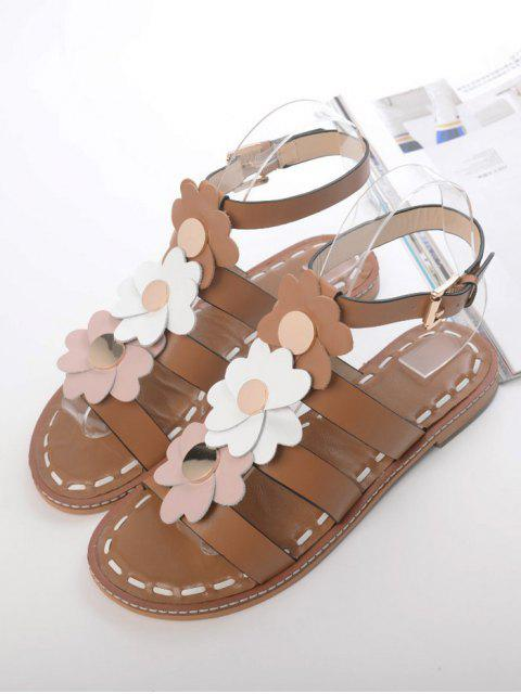 outfits Flowers T Bar Flat Heel Sandals - BROWN 37 Mobile