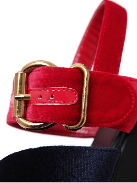 shops Platform Buckle Strap Velvet Sandals - BLUE AND RED 37 Mobile