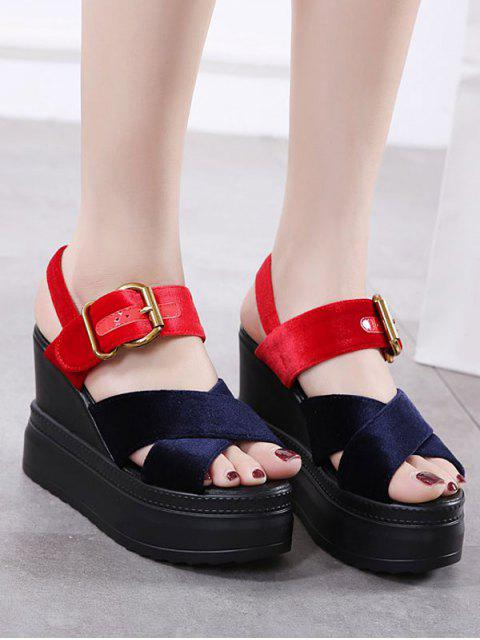 latest Platform Buckle Strap Velvet Sandals - BLUE AND RED 38 Mobile