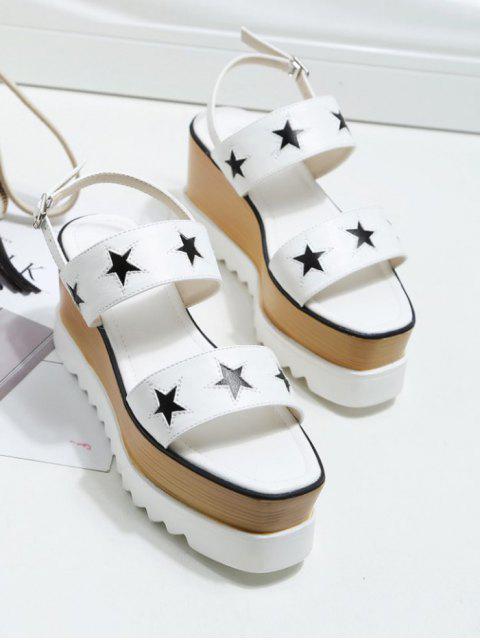 womens Platform Two Tone Star Pattern Sandals - WHITE 37 Mobile