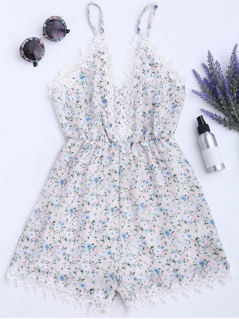 Mameluco del cami de la impresión floral del panel del cordón - Floral L Mobile