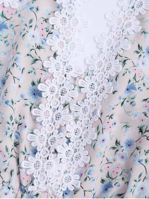 latest Lace Panel Floral Print Cami Romper - FLORAL XL Mobile