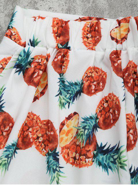 Top croppé imprimé ananas +Shorts - Blanc M Mobile