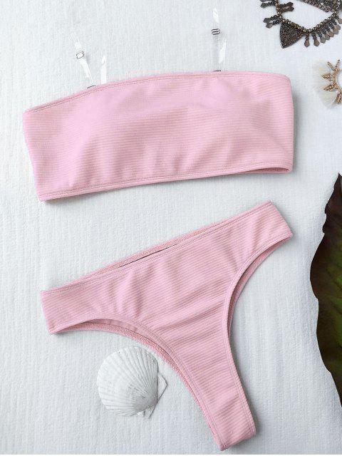 affordable Textured High Leg Bandeau Bikini Set - PINK L Mobile