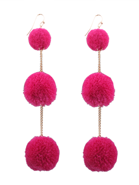 Pendientes Fuzzy Ball Chain Hook - Rosa Roja  Mobile