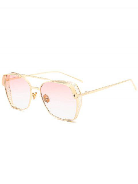 outfits Geometrical Frame Double Metal Crossbar Sunglasses - PINK  Mobile