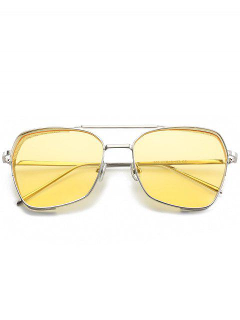 shop Geometrical Frame Double Metal Crossbar Sunglasses - YELLOW  Mobile