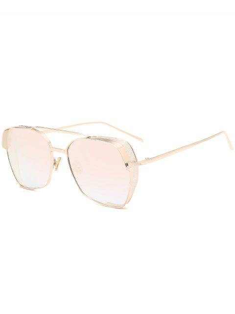 Geometrischer Rahmen Doppel Metall Querlatte Sonnenbrillen - Goldrahmen+pinke Linse  Mobile