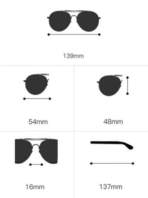 trendy Geometrical Frame Double Metal Crossbar Sunglasses - TEA-COLORED  Mobile