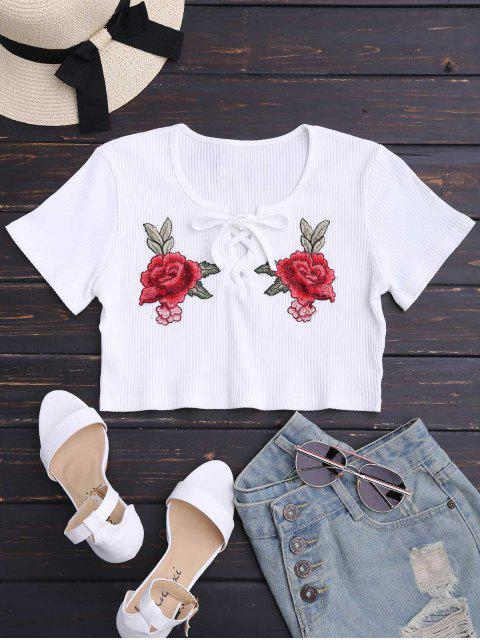 affordable Floral Patched Lace Up Ribbed Crop Top - WHITE S Mobile