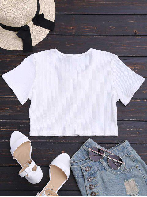 buy Floral Patched Lace Up Ribbed Crop Top - WHITE M Mobile