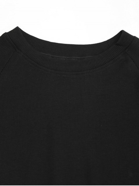 best Knitted Cotton Ribbed Top - BLACK M Mobile