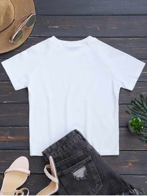 hot Knitted Cotton Ribbed Top - WHITE S Mobile