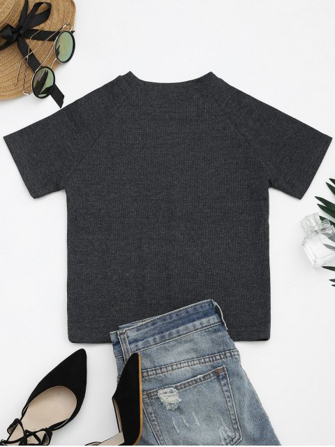 outfit Knitted Cotton Ribbed Top - DEEP GRAY M Mobile