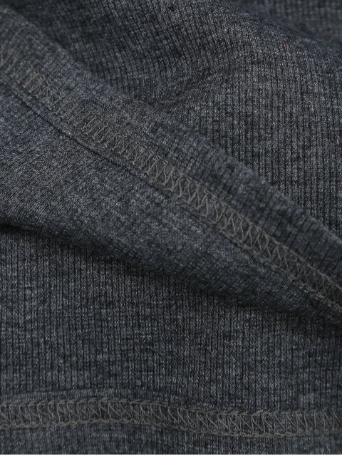 outfits Knitted Cotton Ribbed Top - DEEP GRAY S Mobile