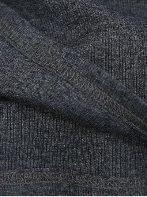 Top nervuré en coton tricoté - Gris Foncé S Mobile