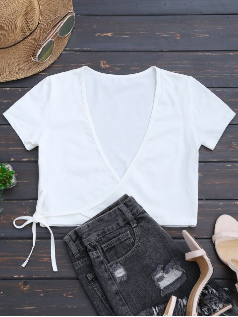 trendy Cotton Wrap Cropped Top - WHITE ONE SIZE Mobile