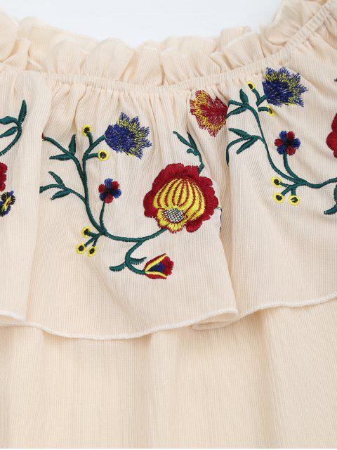 fancy Floral Embroidered Patched Flounce Blouse - APRICOT ONE SIZE Mobile