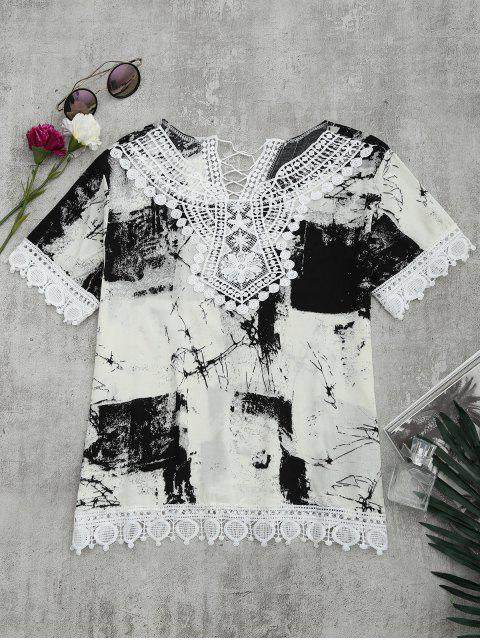 sale Lace Panel Tie Dye Blouse - WHITE AND BLACK M Mobile