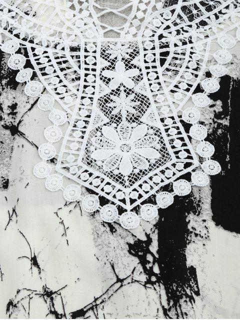buy Lace Panel Tie Dye Blouse - WHITE AND BLACK XL Mobile