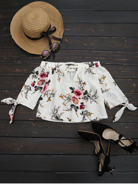 Off The Shoulder Floral Impreso Blusa - Blanco M Mobile