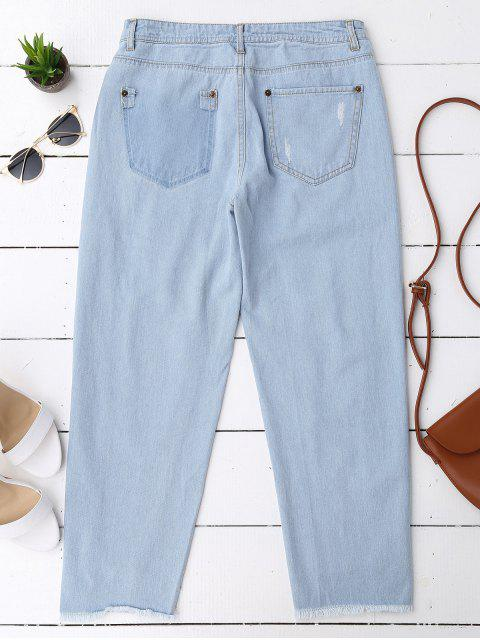 new Cutoffs Serious Frayed Tapered Jeans - DENIM BLUE S Mobile
