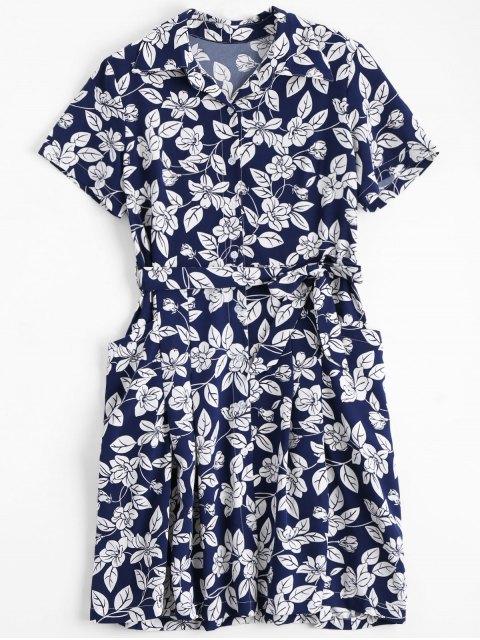 fashion Floral Belted Vintage Shirt Dress - FLORAL S Mobile