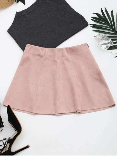affordable Faux Suede Mini A-Line Skirt - PINK M Mobile