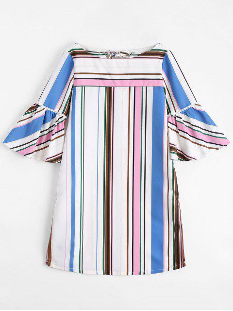 ladies Flare Sleeve Stripes Shift Mini Dress - STRIPE L Mobile