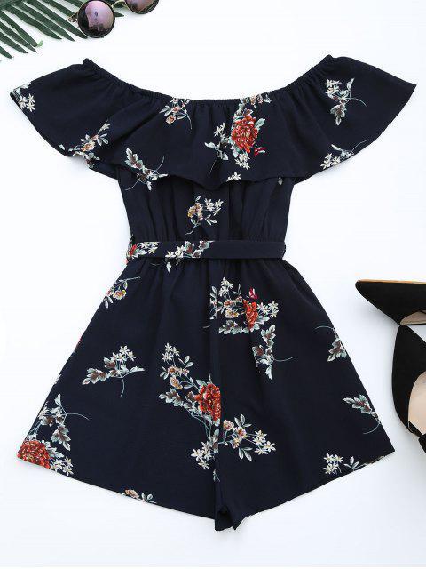 fancy Floral Print Belted Flounce Romper - FLORAL L Mobile