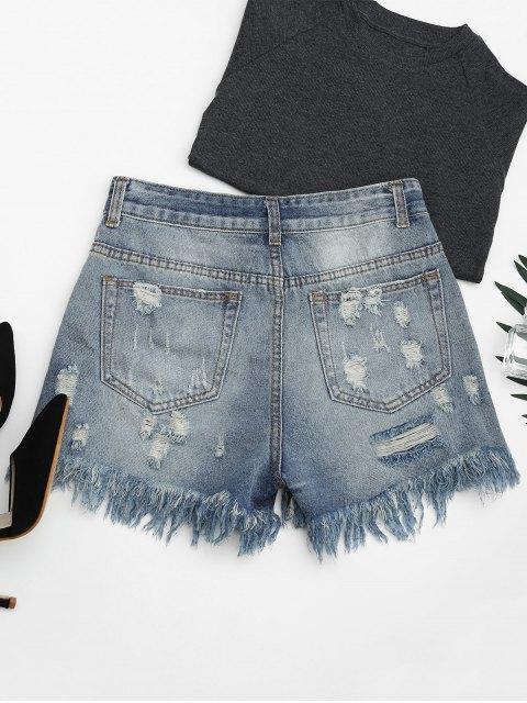 short en jean déchirés  brodés de papillons et à boutons - Denim Bleu XL Mobile