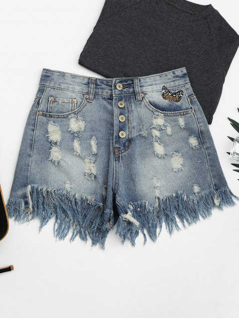 affordable Ripped Cutoffs Butterfly Embroidered Denim Shorts - DENIM BLUE M Mobile