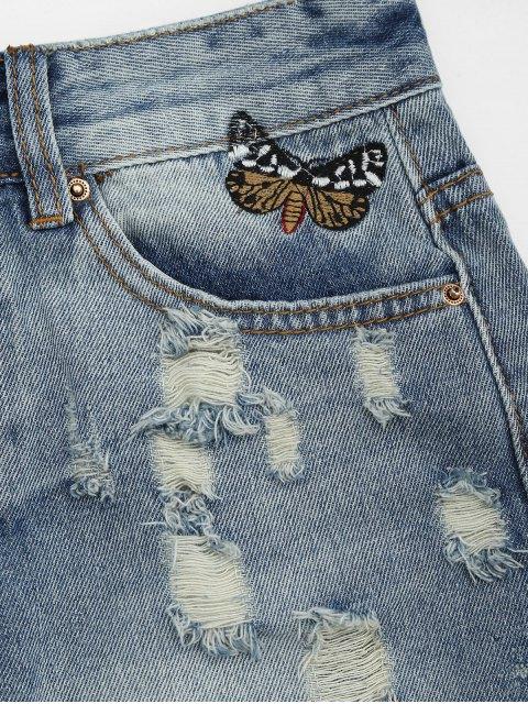 short en jean déchirés  brodés de papillons et à boutons - Denim Bleu S Mobile