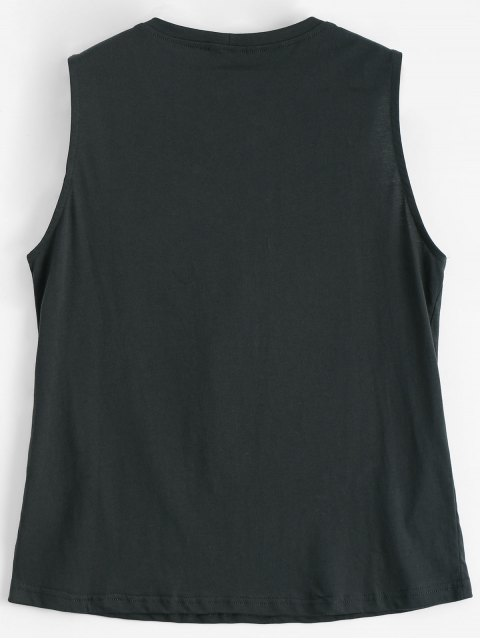 women's Graphic Cotton Lace Up Tank Top - DEEP GRAY S Mobile