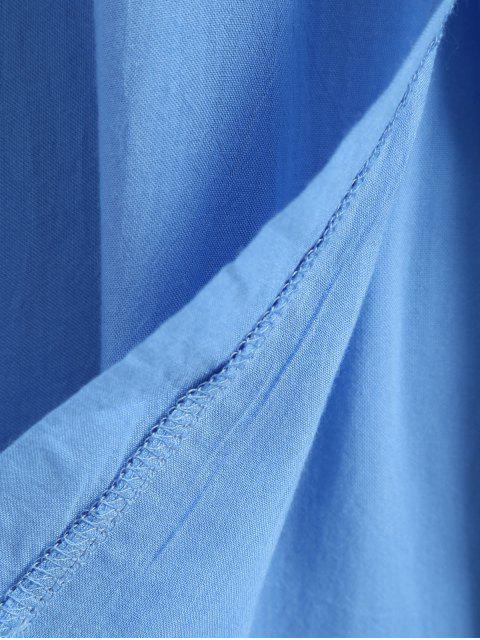 buy Maxi Cami Cold Shoulder Shirt Dress - BLUE M Mobile