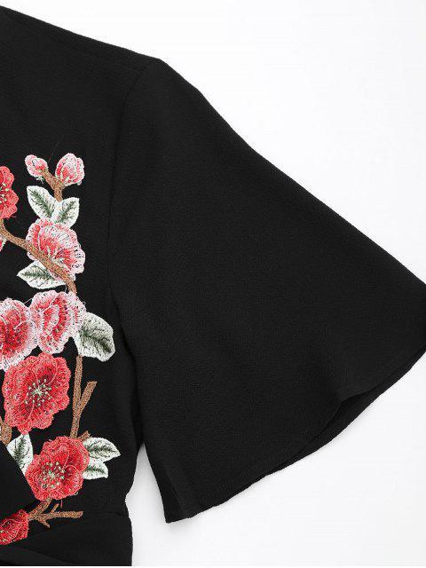 Manteau à pied plongeant floral - Noir L Mobile